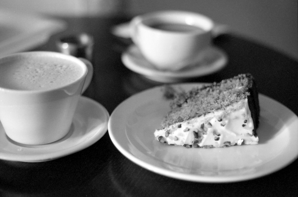 297/366 - A good day is getting to share cake with your husband :) there was also hot chocolate involved, so double win!
