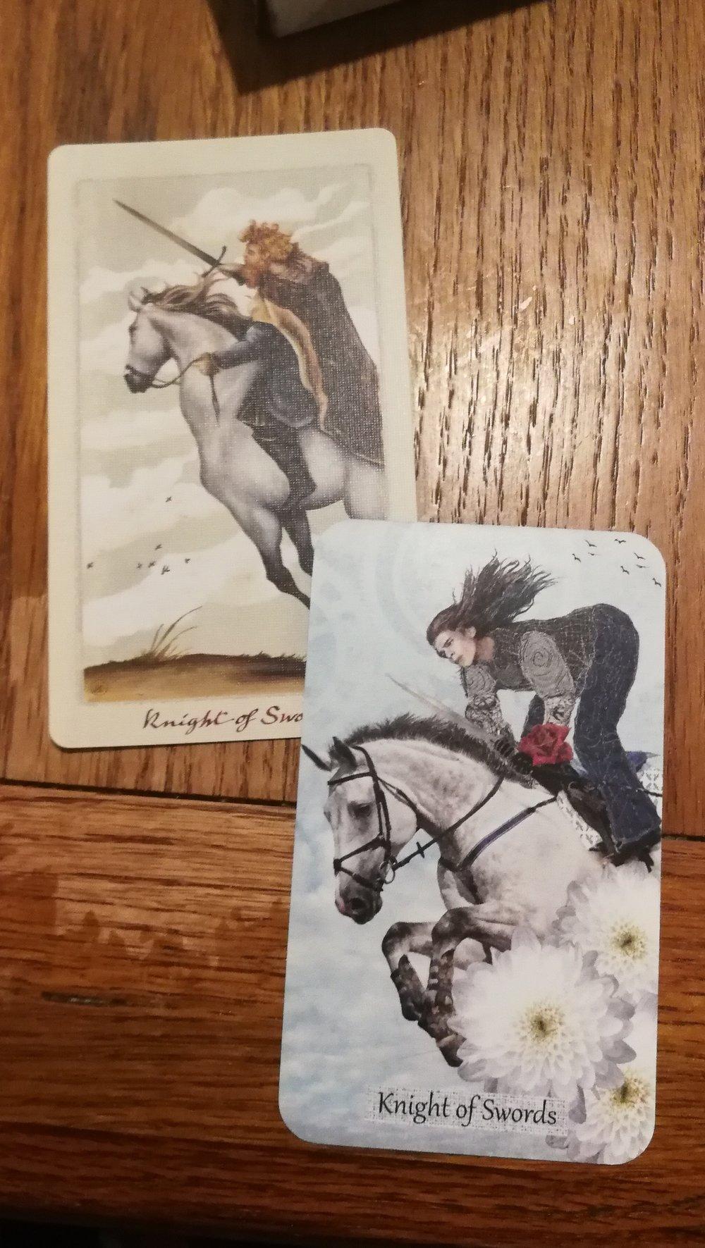 The Knight of Swords  Top card:   Pagan Otherworlds Tarot   Bottom Card:   The Textured Tarot by Lisa McLoughlin