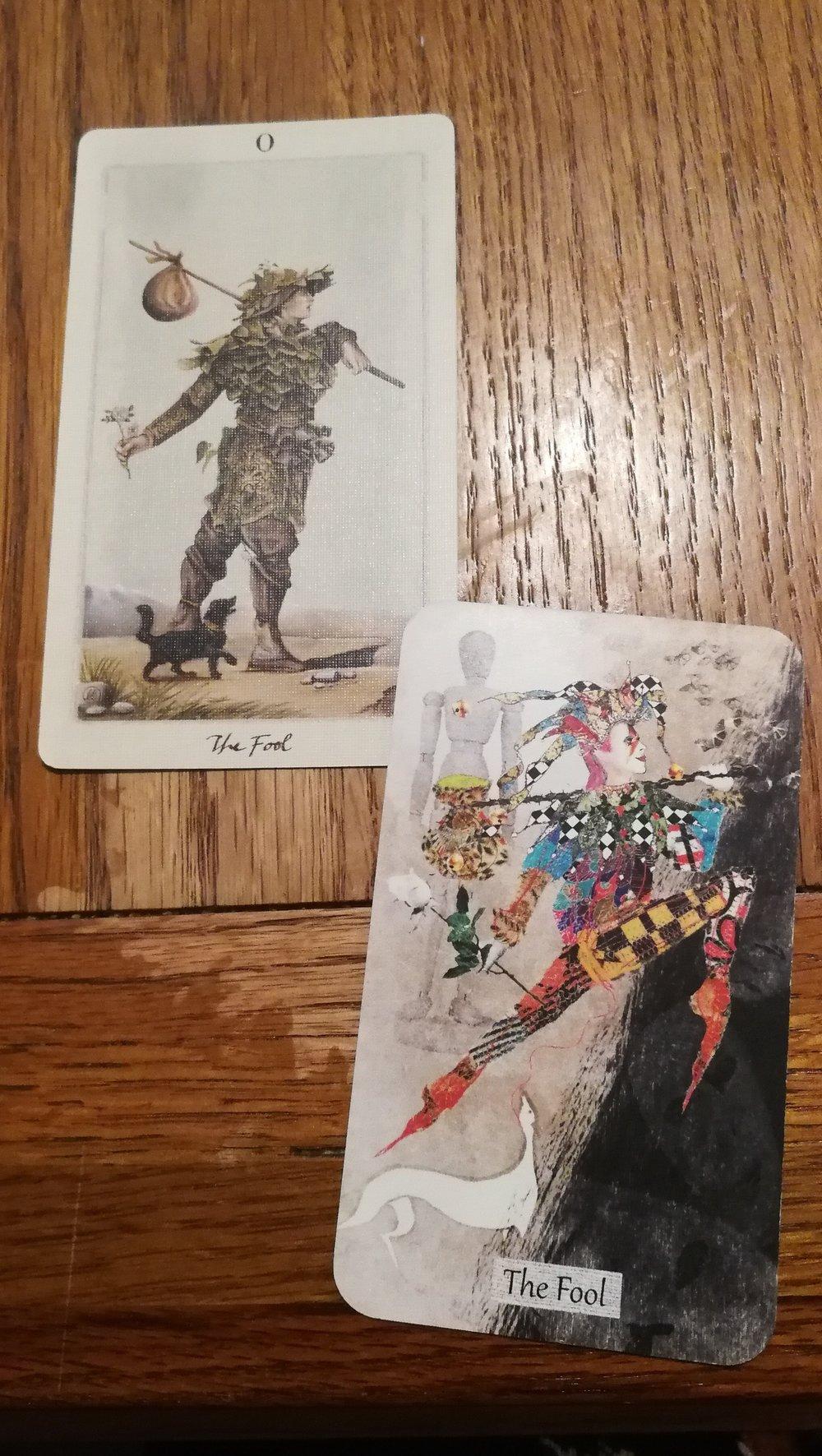 The Fool  Top card:   Pagan Otherworlds Tarot   Bottom Card:   The Textured Tarot by Lisa McLoughlin