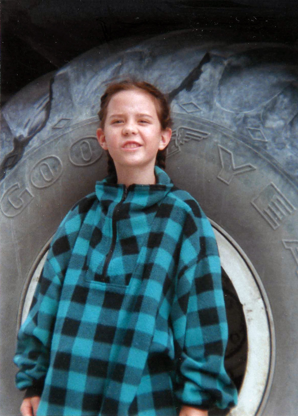 Standing beside one of the tires on the Icefield's buses. Maybe 1996 or '97.