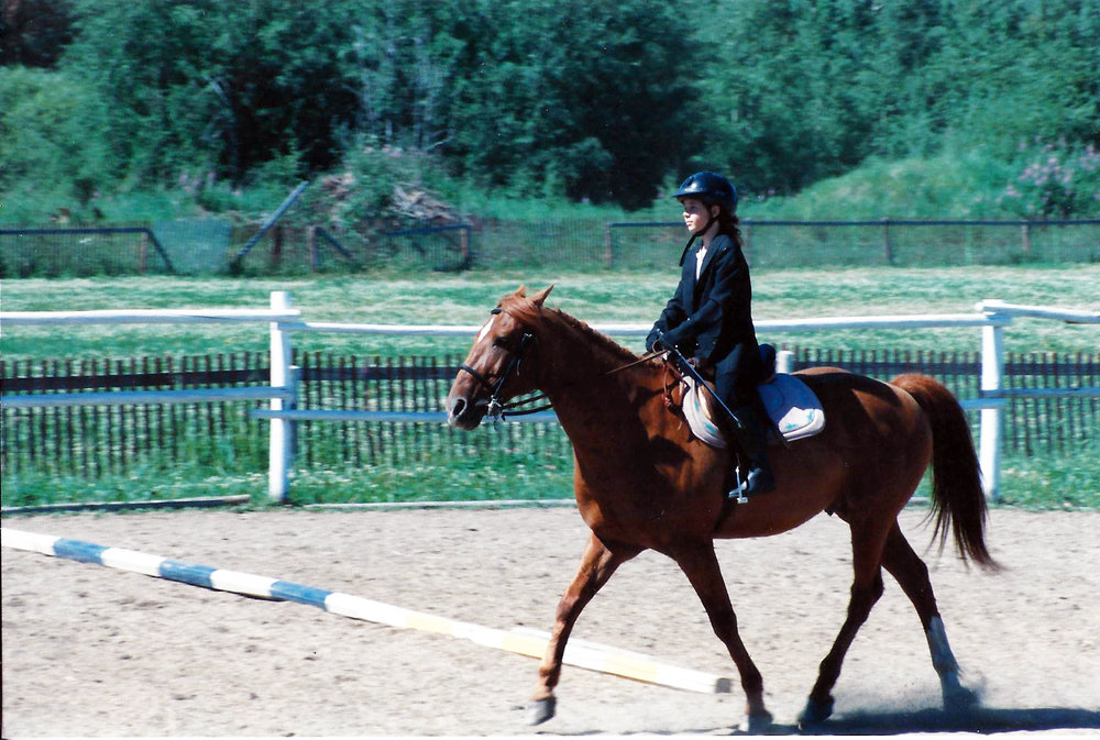 Starting my dressage test at Pony Club Camp on Rusty. I think I turned 11 this year.