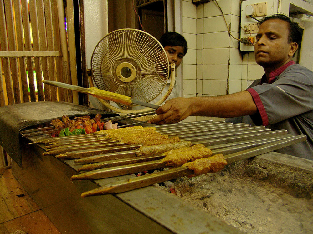 Kebabs being prepared at Kareem's, Delhi Photo credit:  Saad Akhtar