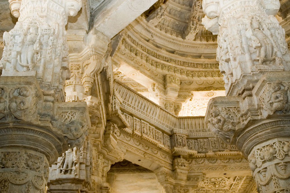 Jain temple, Ranakpur   Photo credit:   Paul Asman and Jill Lenoble
