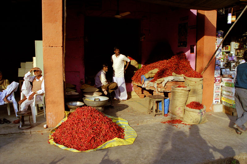 Chillies at Jaipur market Photo credit:  enjosmith