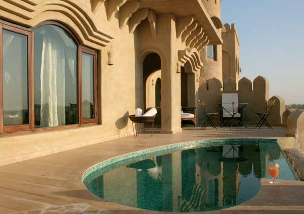 A poolside view of Mihirgarh