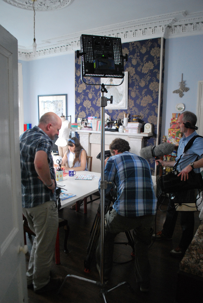 Cass being filmed in The Stitchery studio