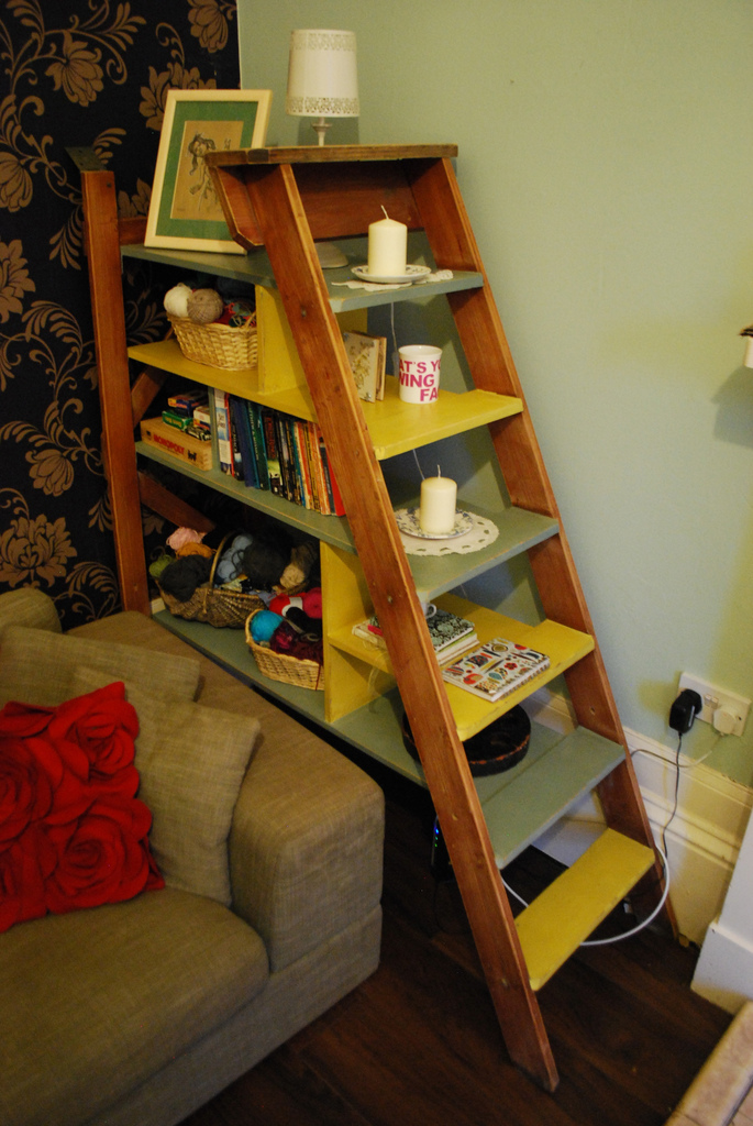 The finished shelves with all stuff on them!