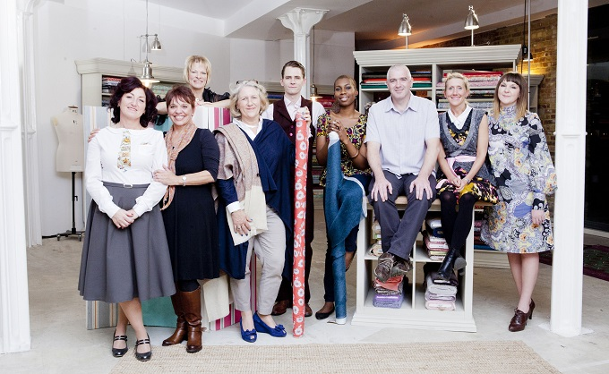 The Great British Sewing Bee, 2014, Series 2 contestants: (Left to Right) Julie, Lynda, Heather, Cerina, Simon, Chinelo, David, Tamara and Jenni – Image Credit: BBC/Love Productions/Charlotte Medlicott