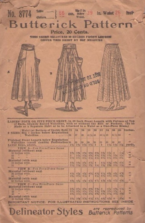 Butterick sewing pattern, circa 1898