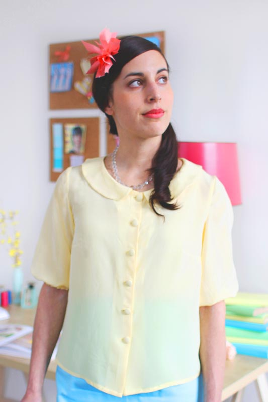 VIOLET Colette The neckline sports a sweet peter pan collar that can be embellished or modified in all kinds of creative ways. This blouse can be made with short gathered sleeves (Version 1) or mid-length sleeves that gather at the hem with elastic (Version 2). It is shaped with bust darts, and back yoke with center gathering. See more.
