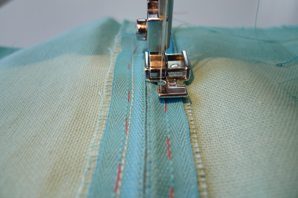 STEP 4b - Stitch down the right-hand-side, using the centreline as a guide.