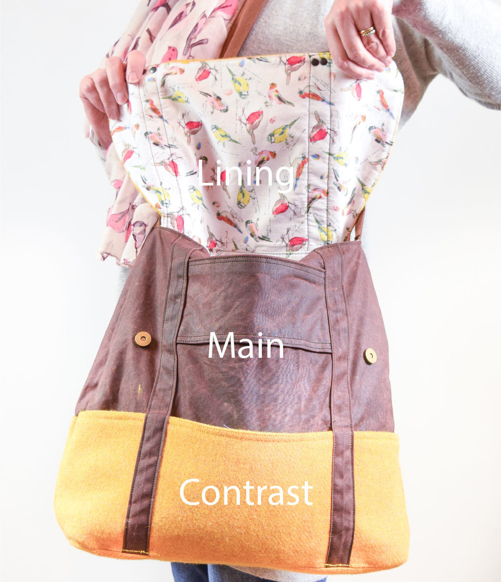 In this lovely student example, the main fabric is Oil Cloth, the contrast fabric a mustard yellow tweed, and the lining an interesting bird print cotton.