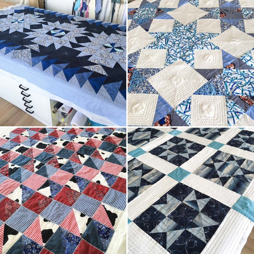 Quilts made by our students from the Contemporary Quilting Course.