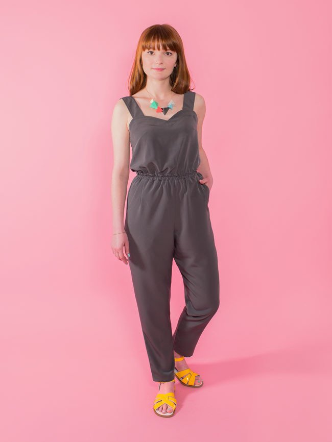 MARIGOLD JUMPSUIT or TROUSERS  Tilly & The Buttons  The relaxed peg-shaped trousers are easy-fitting at the hip, with slash pockets for nonchalant slouching, tapering into a slim line ankle. The waist has gentle shaping from pleats and darts, cinched in with a quick-sew elasticated waistband. The jumpsuit bodice is shaped with bust darts and a sweetheart neckline, with a comfortable blousy waist, wide (bra-concealing!) shoulder straps, closing with an invisible zip at the side.
