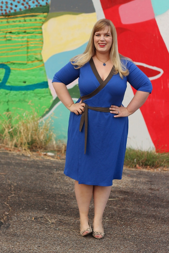 APPLETON DRESS by Cashmerette This classic wrap dress is designed to play up your curves with a crossover front, a built-in waist tie, and a deep V-neck. Designed by and for curvy women, the Appleton's innovative neckband construction prevents gaping across your bust. Do a celebratory shimmy, because this bodice has you well covered!