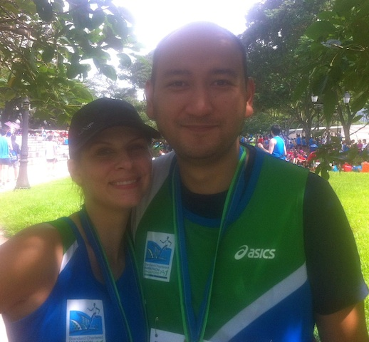 The hubby and me at the the Standard Chartered Marathon finish line feeling spectacular...and sleepy!