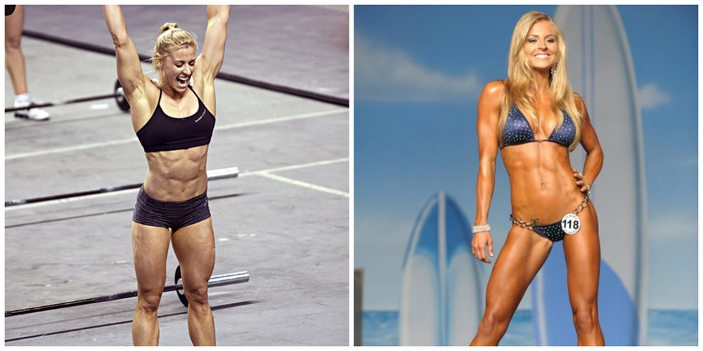Compare Crossfit athlete Danae Brown and bikini competitor, Brittany Tacy. Both do a lot of weightlifting...with very different results.