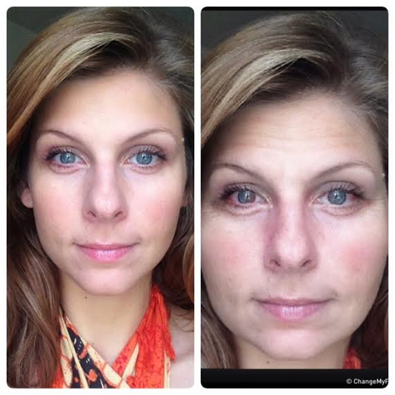 The second photo is what I would apparently look like over time if I were to regularly drink 6-10 glasses of wine per week, according to the app, Drink Mirror: http://www.drinksmarter.org/  I can confirm that the facial bloating is real!