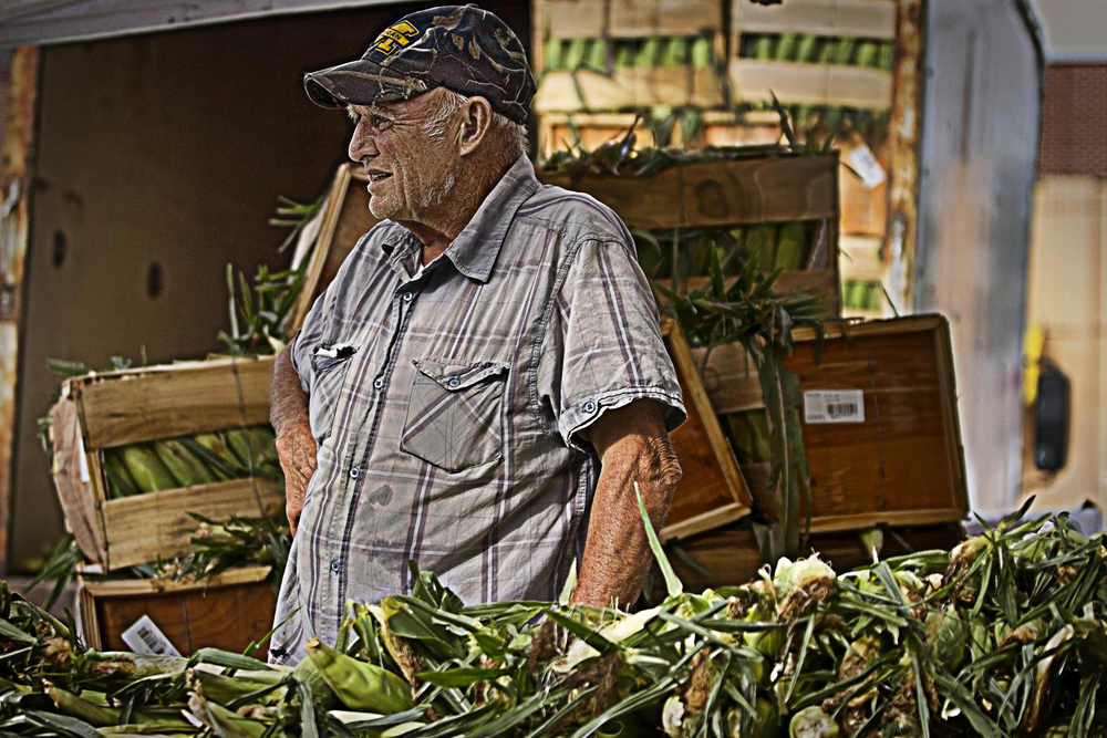 A vendor selling corn at the Detroit Eastern Market in Michigan - July, 20 2013
