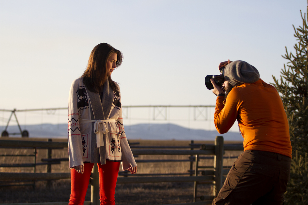 Photographer Chis Arace working with model Jenna Michael outside of Bozeman, MT