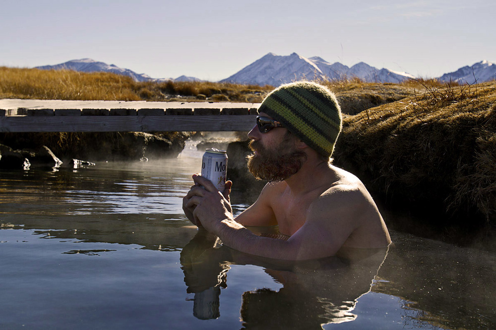 Greg Stahl soaking in the hot springs while we traveled for a couple days throughout California.