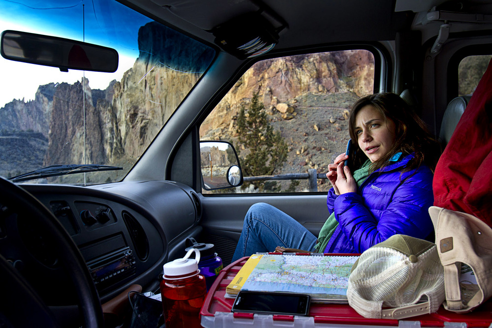 Liz Stuart fielding job interview questions at Smith Rock State Park in Oregon.