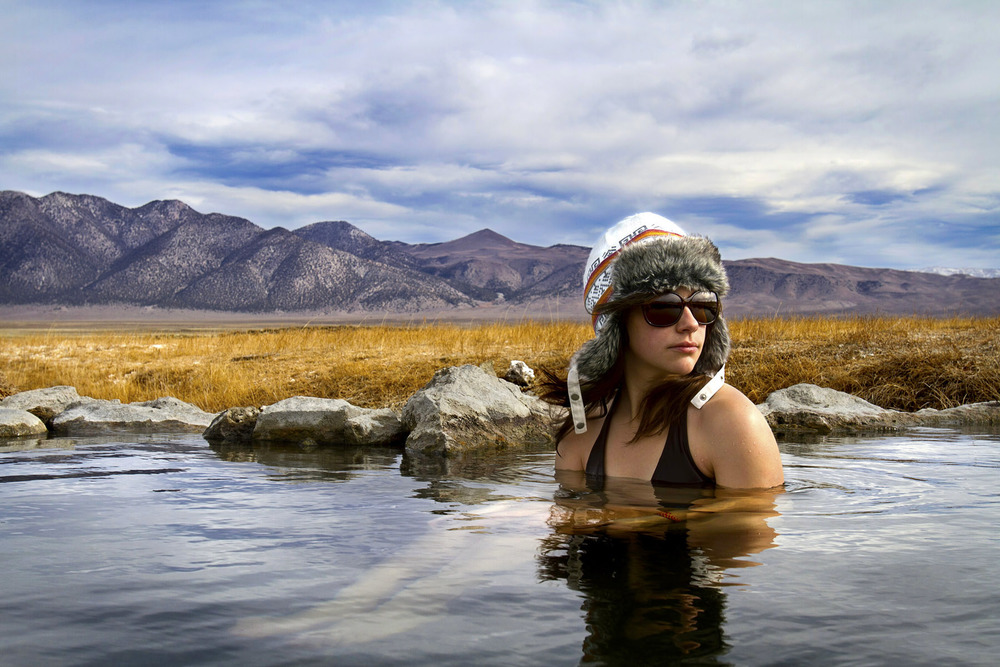 Elizabeth Stuart soaks in the hot springs along Highway 395 - California.