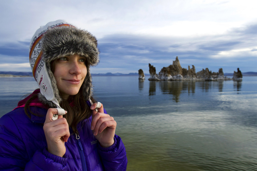 Elizabeth Stuart watching the sun come up at Mono Lake Tufa State Natural Reserve - California