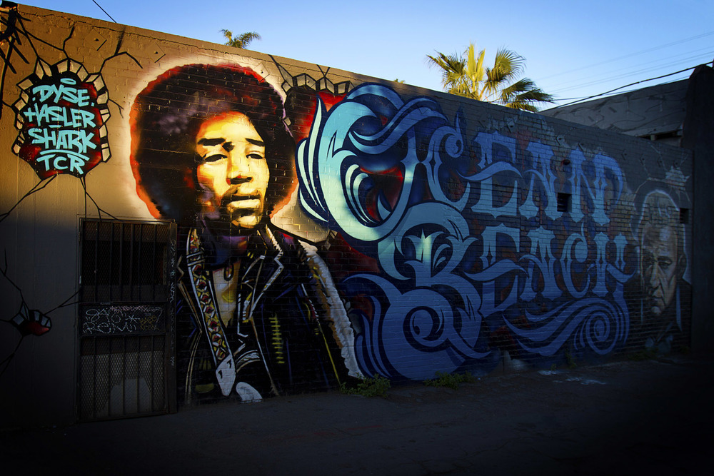 The Ocean Beach mural featuring Jimi Hendrix and Johnny Cash