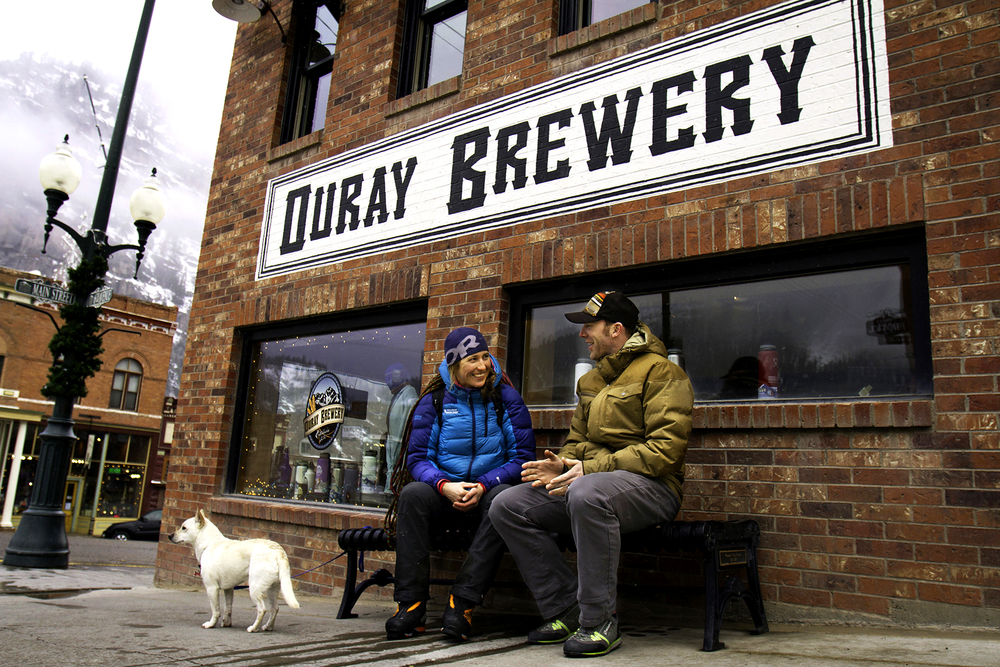 Erica Engle and Christian Folk share some laughs outside the Ouray Brewing Company in Colorado.