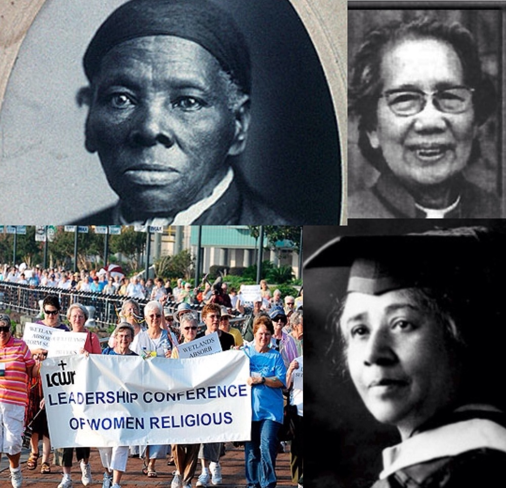 Clockwise from top- Harriet Tubman, Li Tim-Oi, Anna Julia Cooper, The Leadership Conference of Women Religious.