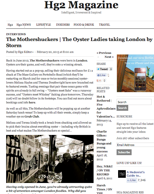 Hedonists Guide to London. Interview. Feb 2013.