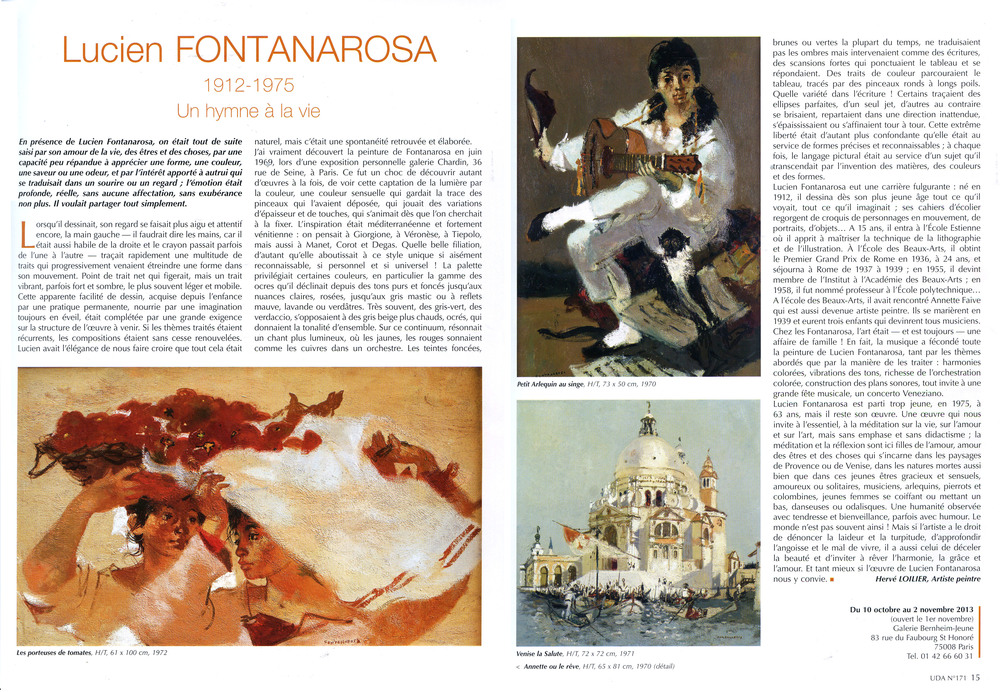 Lucien Fontanarosa,  un Hymne à la vie   Article  Univers des Arts , n° 171 - Octobre-Novembre 2013   French magazine article