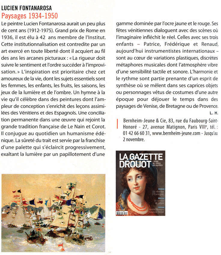Article  Gazette Drouot , n° 34 - Octobre 2013   French magazine article