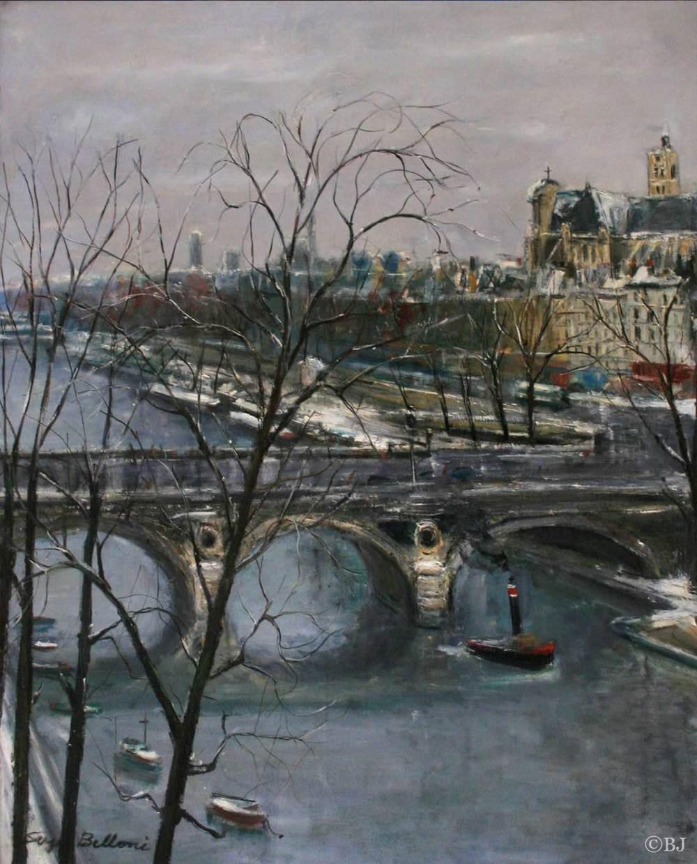 Vue de la Seine et du Pont Louis-Philippe  Huile sur toile - 90 x 71 cm