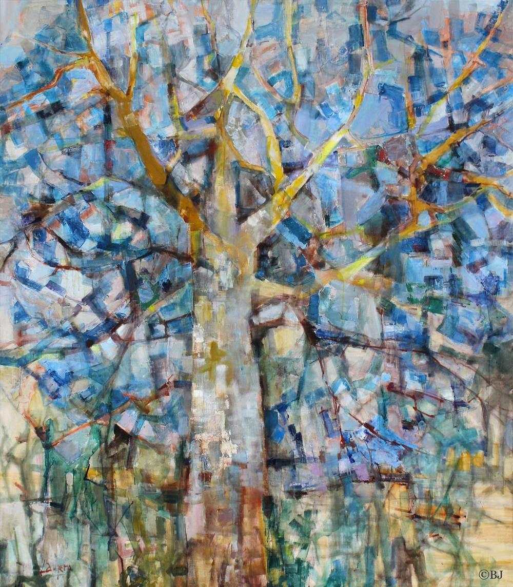 Lumière de mon arbre Huile sur toile - 200 x 116 cm