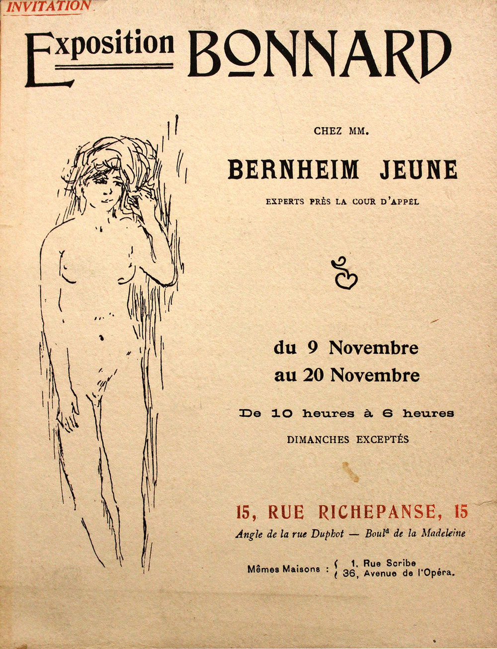 "Carte d'invitation de l'exposition ""Bonnard"" de 1906 chez Bernheim-Jeune, 41 oeuvres exposées -  Invitation card of the exhibition ""Bonnard"" 1906 at Bernheim-Jeune, 41 works exhibited"