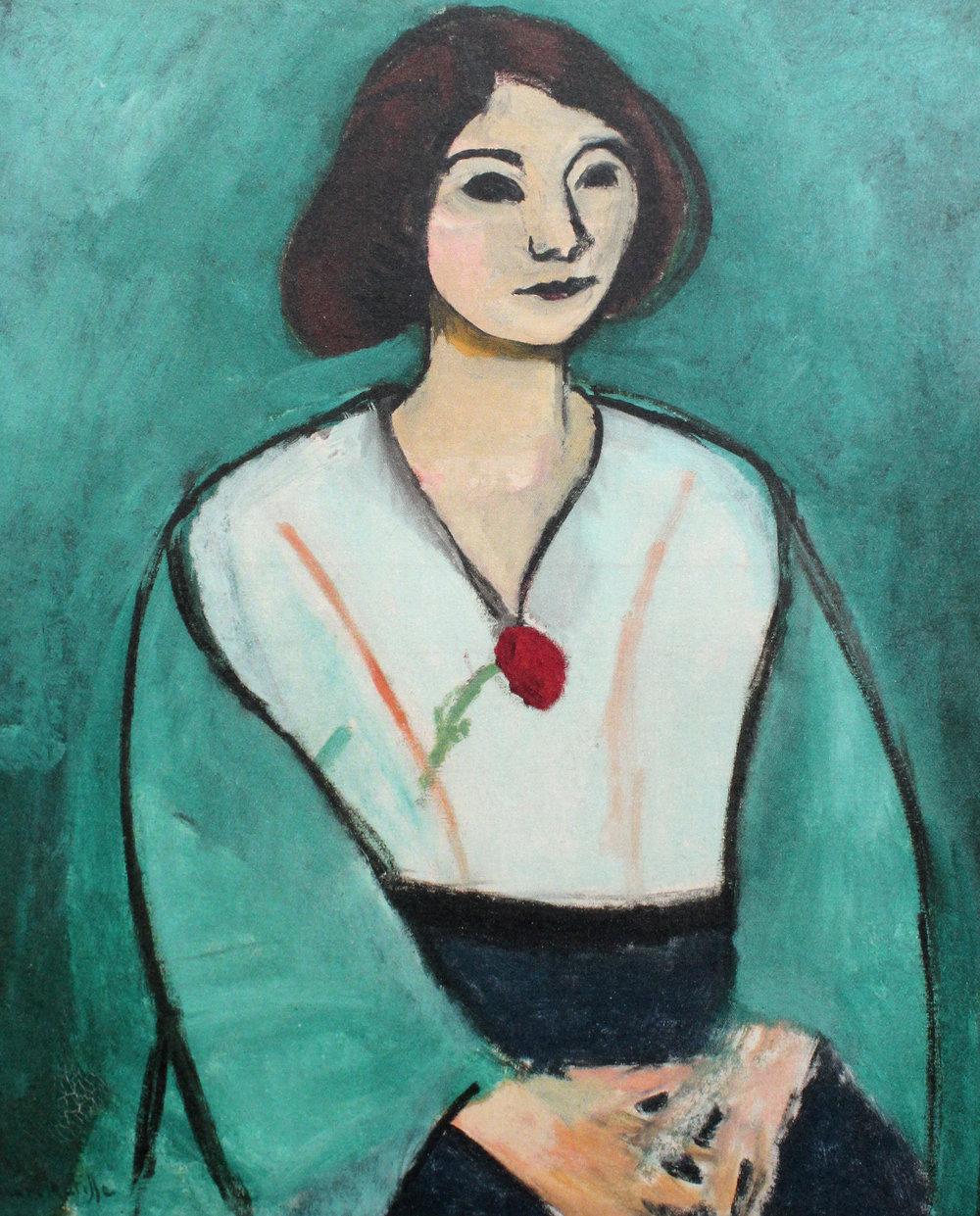 H. Matisse ,  La Femme en vert à l' œillet rouge  - DAUBERVILLE, T1, n°94