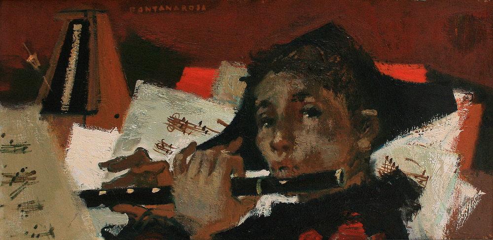Arlequin à la flûte  - Oil on canvas - 46 x 61 cm