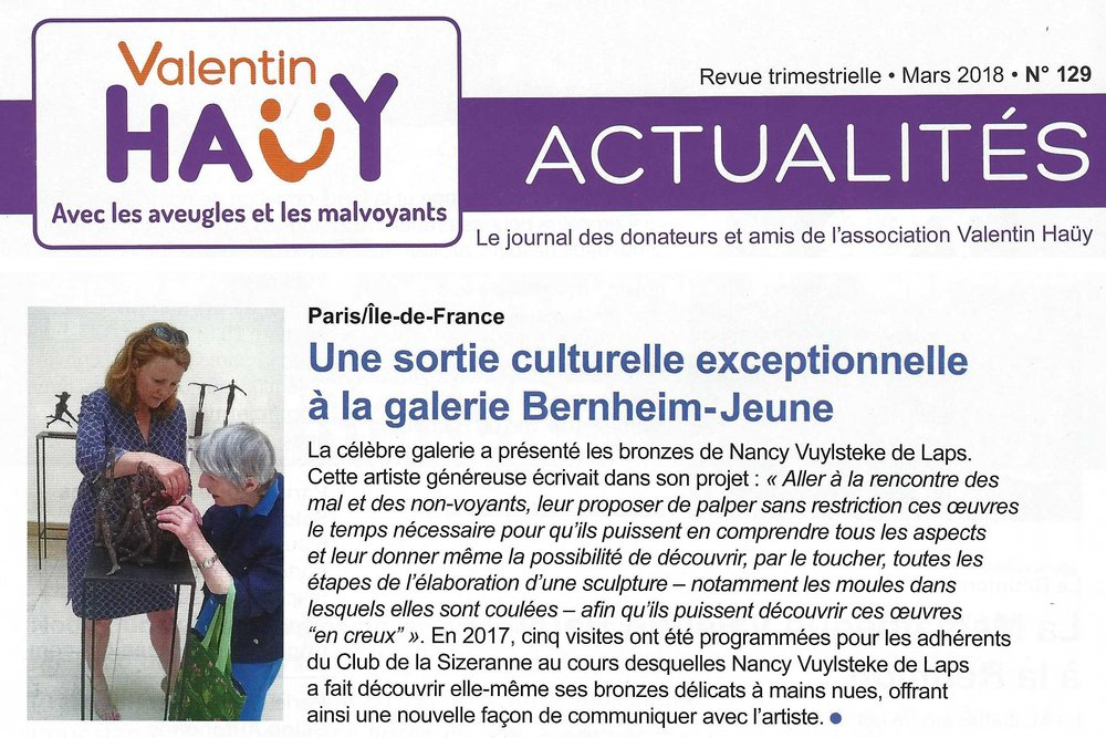"""Nancy V. de Laps : """" Une oeuvre au bout des doigts """" juin 2017"""