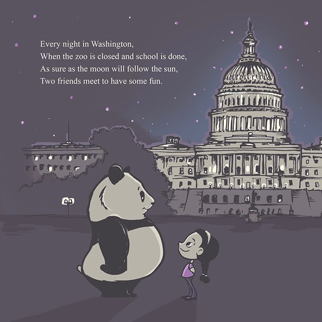 """Swipe for more.  Coming soonish, """"A Whimsical Washington Night: The Adventures of a DC Duo"""". Come along as DC Daisy meets her best buddy, Washington Panda, for an evening of adventures – against the backdrop of the capital's most beloved landmarks. Also volleyball with Teddy Roosevelt, sooooo.  #kidlitart #kidlit #childrensbook #illustration #kidsillustration #characterdesign #washingtondc #panda #ilovepandas #dc #shankmanoneill #washingtonnights"""