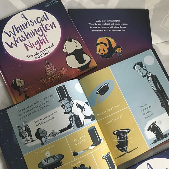 """Here they are, right in time for the holidays! We're proud to announce our 10th book, """"A Whimsical Washington Night""""! Our nation's capitol comes to life each night with some new friends (and some recognizable ones as well.) And we can all use a little whimsy, no? Looking forward to hearing what you all think about it. 😁 ... ... #AWhimsicalWashingtonNight #shankmanandoneill #kidlit #kidlitart #childrensbooks #illustratorsoninstagram #washingtondc #panda"""