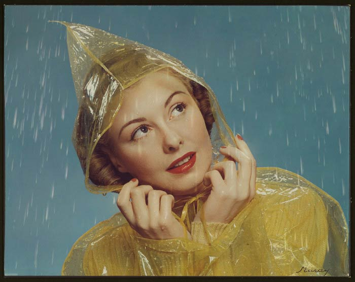 McCall cover girl 1943 wearing vinyl rain coat