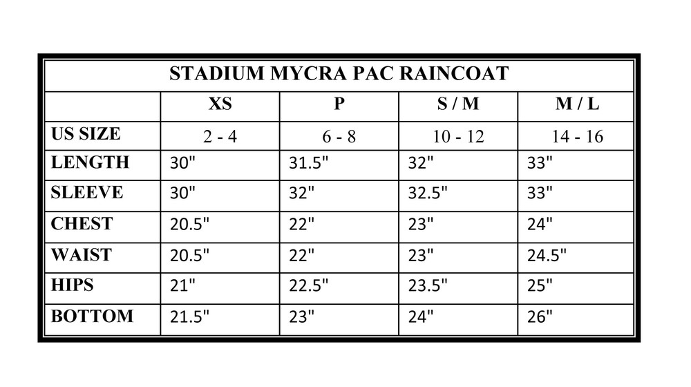 Stadium Mycra Pac Raincoat Size Chart