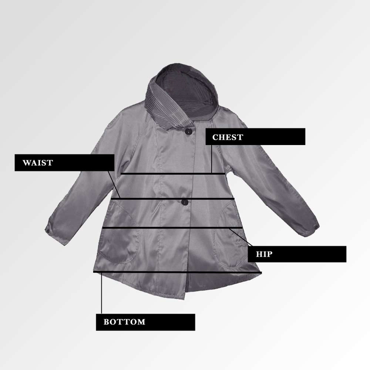 Mycra Pac Donatella Raincoat Measurment Guide
