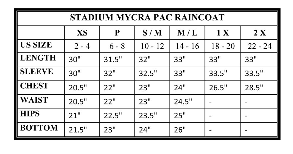 Mycra Pac Stadium Raincoat Extended Sizes Size Chart