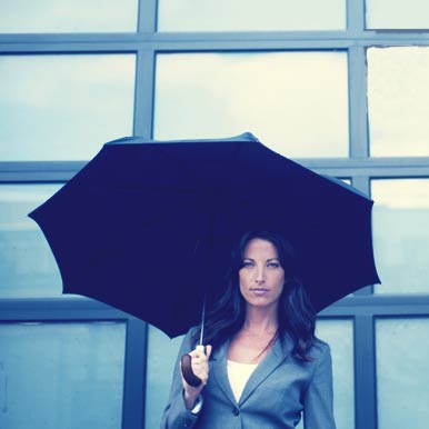 Woman Holding Shedrain Umbrella