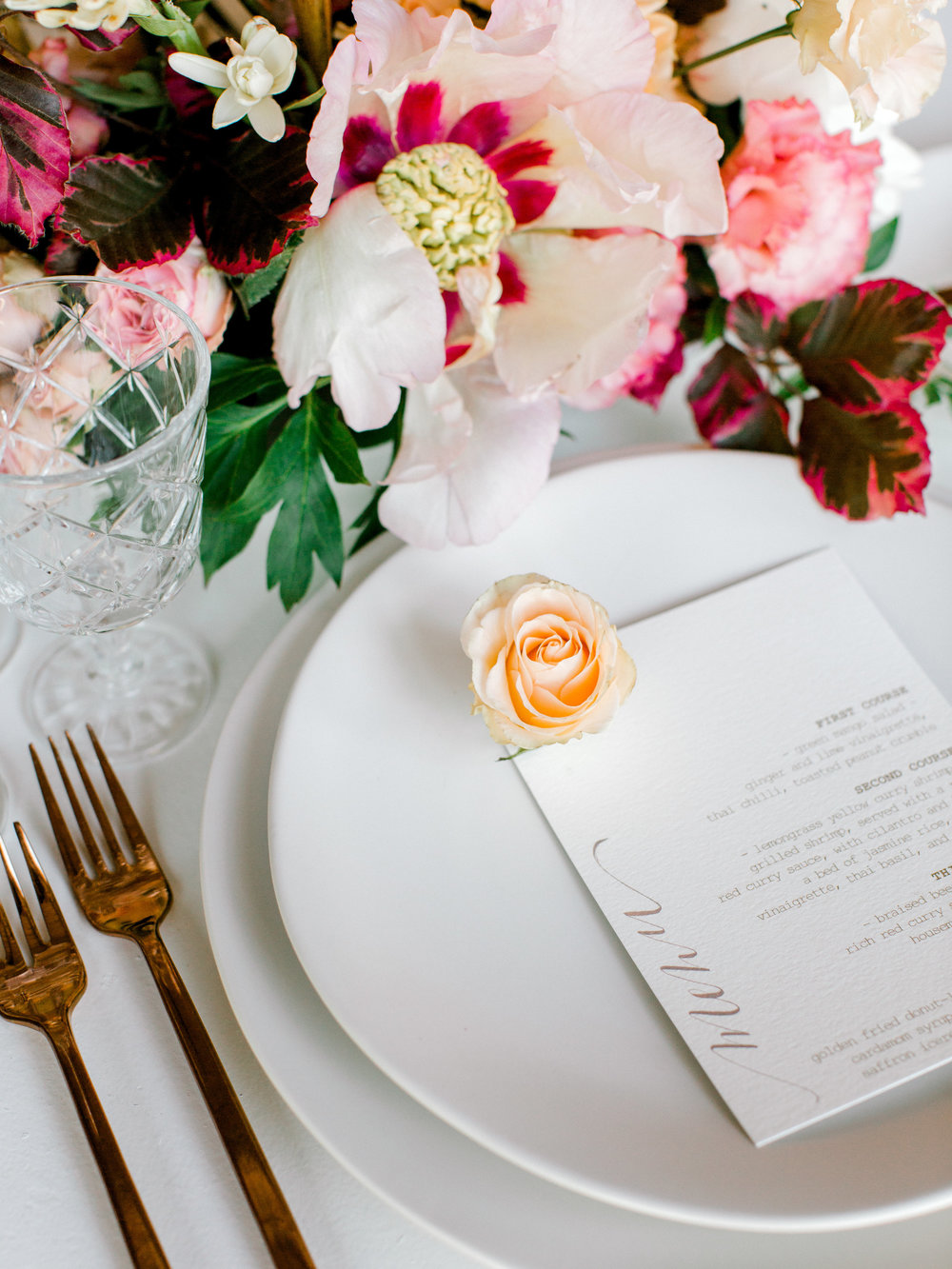 coordinators & stylists:  June Bloom Events  | flowers:  Quill and Oak  | furniture rentals:  Glamourous Affairs  | table setting:  Plate Occasions  | paper goods & calligraphy:  Kimi Arya Events  | photographer:  Jess Imirie Photography  | venue:  Langdon Hall