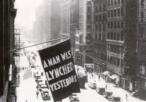 Banner hanging from NAACP office in NYC, 1938
