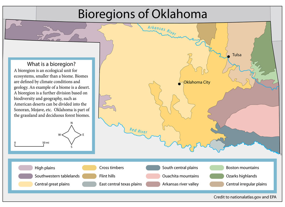 Bioregion map of Oklahoma